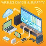 Home Theater, Smart TV, smartphone Royalty Free Stock Images