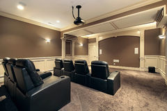Home theater with stadium seating. Theater in luxury home with stadium seating Royalty Free Stock Photos