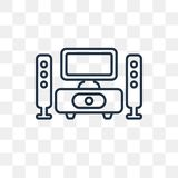 Home Theater vector icon isolated on transparent background, lin royalty free illustration