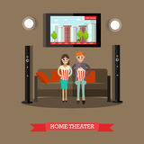 Home theater vector illustration in flat style Royalty Free Stock Images