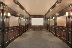 Home theater with wood paneled walls Royalty Free Stock Photos