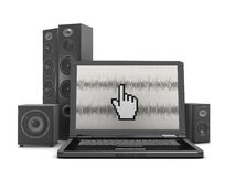 Home theatre system and laptop computer Royalty Free Stock Image