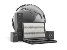Home theatre system, laptop and earth globe Royalty Free Stock Photography