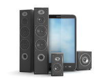 Home theatre system and mobile phone Stock Images
