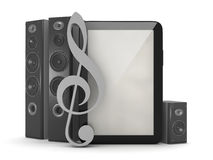 Home theatre system, tablet computer and clef Stock Photography