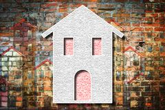Home thermally insulated with polystyrene panels - Buildings energy efficiency 3D render concept image.  stock photos
