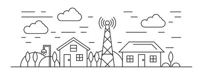 Housing and Environment Illustration. Home Thin Line Design On Black And White stock illustration