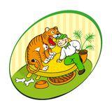 Home tiger. Veterinarian inspects the teeth of the home tiger Stock Images