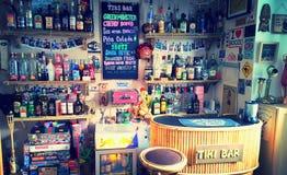 Home tiki bar. Tiki bar, homemade with bamboo and alcohol Royalty Free Stock Photography