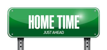 Home time road sign illustration design Stock Images