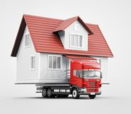 Moving house on tir, new home, 3d render illustration. Home on tir, moving house, prefabricated Royalty Free Stock Image