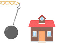 Home about to be destroyed by wrecking ball. Illustration of a home about to be destroyed by wrecking ball royalty free illustration