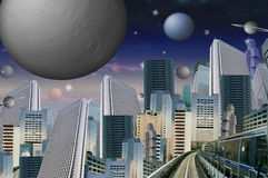 From home to work. Futuristic city in the middle of space Royalty Free Stock Images