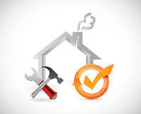home tools and check mark cycle Royalty Free Stock Images