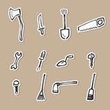 Home tools drawing icons paper cut Royalty Free Stock Photography