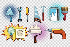 Home tools and electrics, pop art set Royalty Free Stock Photography