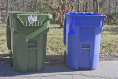 Home Trash and Recycling Bins Royalty Free Stock Photography
