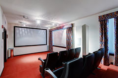 Home TV movie theater entertainment room interior Royalty Free Stock Image