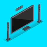 Home TV theater. Large home theater with stereo speakers on a blue background Stock Photo