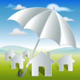 Home with umbrella protection and security Royalty Free Stock Images