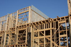 Home under construction. A wooden skeleton of a home under construction Stock Images