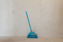 Home under construction - sweeping floor Royalty Free Stock Images