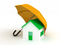 Home under umbrella. 3d render Stock Images