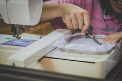 The Home-Use Embroidery Machines.  Stock Photo