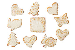 Home Use festive cookies isolated on white. Background Royalty Free Stock Images