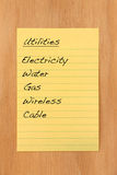 HOme utilities. Common home utilities and expenses Stock Image