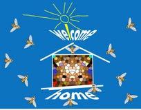 home välkomnande royaltyfri illustrationer