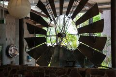 Windmill inside the reception area at an outback station in Australia stock image