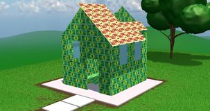 Home value. House being built with banknote-like bricks.  Concept of home value, real estate, property development, building expense stock video