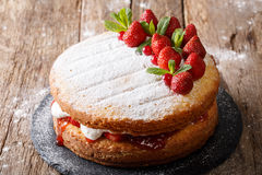 Home Victoria sponge cake, decorated with strawberries and mint. Home Victoria sponge cake, decorated with strawberries, cranberries and mint closeup on the royalty free stock photo