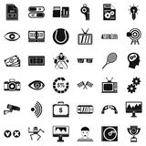 Home video icons set, simple style. Home video icons set. Simple style of 36 home video vector icons for web isolated on white background Royalty Free Stock Photos