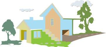 The home villa. Artistic illustration of a house or villa Stock Photos
