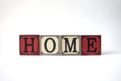 Home with vintage cubes on white Royalty Free Stock Photography