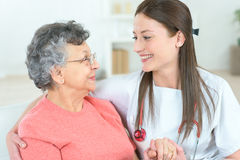 Home visiting old patient Royalty Free Stock Photography