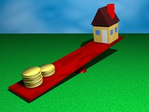 Home vs money. Money outweighs a house on a scale in a yard Stock Image