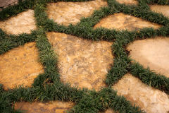 Home Walkway Landscaping. Walkway at a home with rock and grass growing stock image