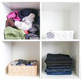 Home wardrobe with different clothes. Small space organization. The contrast of order and disorder. Vertical storage stock images