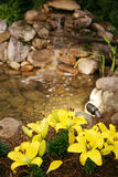 Home Water Feature. Water Feature in a backyard of a luxury home stock photography