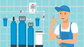Home Water Filters Installation Flat Illustration stock illustration