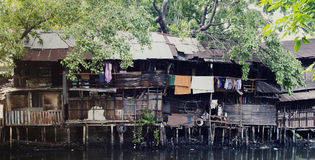 Home waterfront slums in the city photo. Home waterfront slums in the city Royalty Free Stock Photography