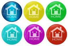 Home web button colored set Royalty Free Stock Images