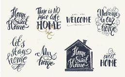 Home and welcome decor quotes signs set isolated on white background. Hand-lettering, rustic signs.  vector illustration