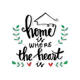Home is where the heart is. Motivational quote vector illustration