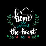 Home is where the heart is. Motivational quote royalty free illustration
