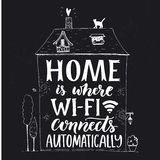 Home is where wifi connects automatically. Fun phrase about internet.. Chalk lettering in hand drawn house with cat and trees on blackboard background Royalty Free Stock Photo