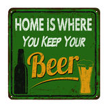 Home is where you keep your beer vintage metal sign Stock Image